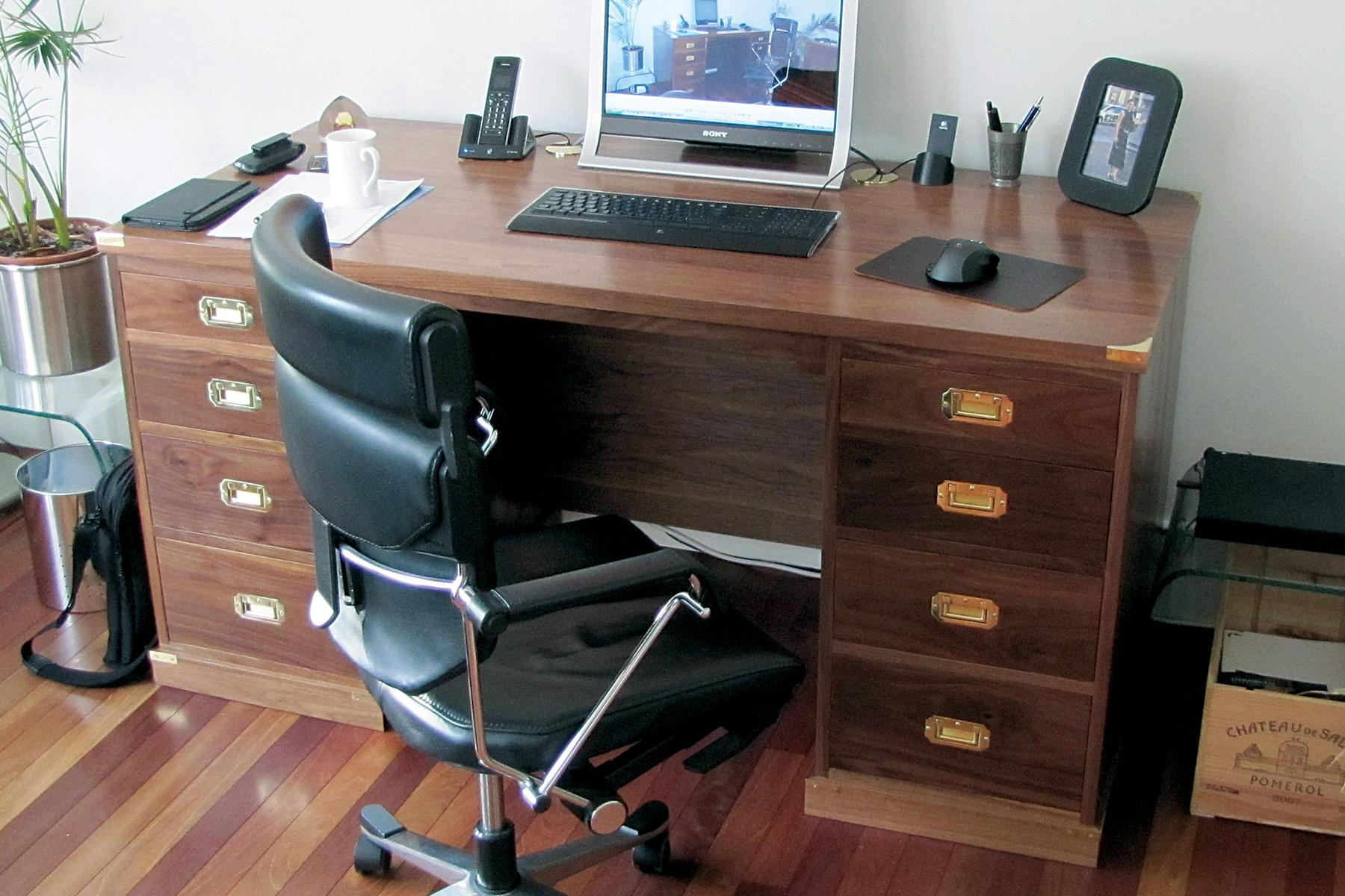 Walnut campaign style office furniture